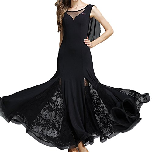 (National Standard Tanzkleid für Frauen Spezieller Hals Gaze Spitze Kurze Ärmel Ballsaal Walzer Kleider für Flamenco Wettbewerb Tanzkleid, Black, S)