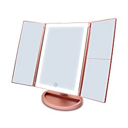 Newest 36 LED Nature Daylight Tri-Fold Lighted Vanity Makeup Mirror with Touch Screen Dimming and 1X/2X/3X Magnification Mirror,Countertop Cosmetic Mirror,180 Degree free Rotation (Rose Gold)