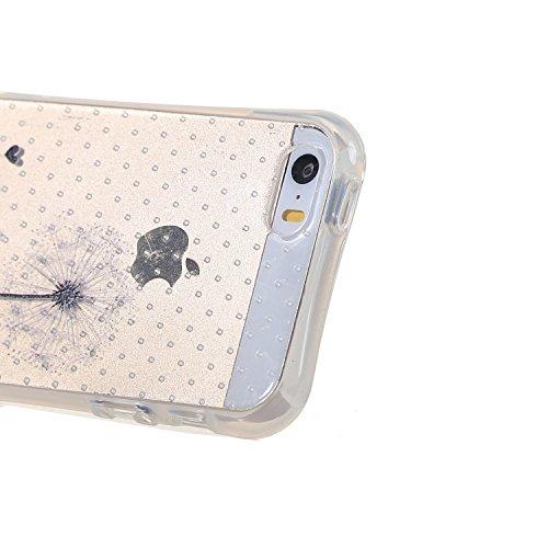 Voguecase® Per Apple iPhone 5 5G 5S, Custodia Silicone Morbido Flessibile TPU Custodia Case Cover Protettivo Skin Caso (Nero - unicorno) Con Stilo Penna Cavo - giovani amanti