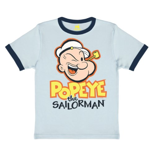 Logoshirt Kids Shirt Popeye - Pipe T-Shirt Children Ringer Chalk blau/deep Navy ()