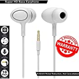 High Bass Wired Earphone With Mic Compatible For Lenovo K6,K6 Note,K8 Note,K8 Plus,K4 Note, Lenovo K6 Power,A6600 Plus And Lenovo Vibe P1 (White)