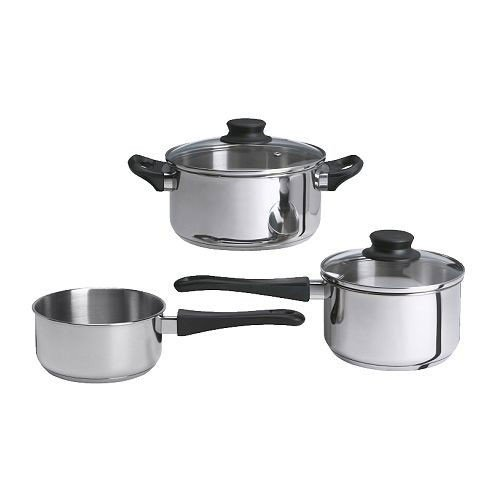 IKEA ANNONS - 5-piece cookware set, glass, stainless steel