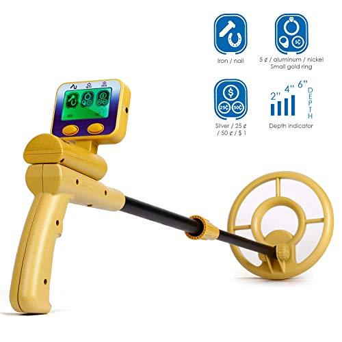INTEY Pantalla LCD con Detector de Metales y Pantalla de Señal de Audio | Bobina de Búsqueda a Prueba...
