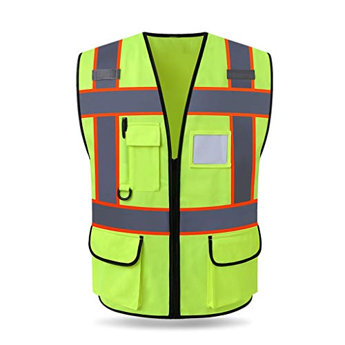 XXW Reflektierende Weste Reflektierende Weste Bauwesen Konstruktion Sicherheit Schutzweste Sicherheitspatrouille Verkehr Warnung Leuchtstoffanzug Sicherheitsweste (Color : Fluorescent Green)