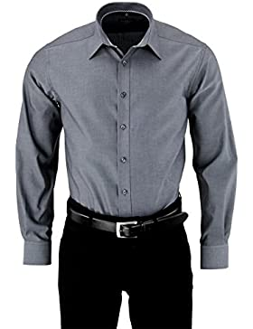 Eterna Herrenhemd Herren Baumwoll Hemd Baumwollhemd Business Freizeit Langarm Modern Fit Grau