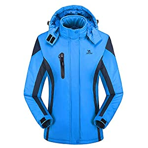 FRAUIT Winterjacke Damen Outdoor Cashmere Verdickung Softshelljacke Hoodie Sport Hut Abnehmbarer Mantel Skianzug