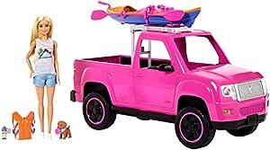 Barbie Camping Fun, Coche de Barbie con Muñeca y Accesorios de Acampada (Mattel FNY40)