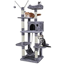 SONGMICS Cat Tree Cat Scratcher Activity Centres Scratching Post with a hammock Light grey PCT86W