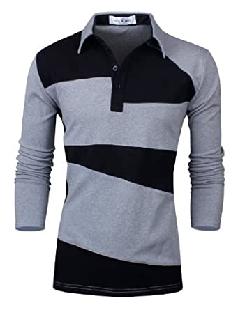 Tom's Ware- Deux Tons Polo a Manches Longues-Hommes TWNSS037C-B.GRAY-3XL (US XL/2XL)