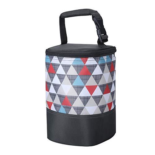 HOKEMP Isolierte Tragbare Babyflaschentasche mit Wärme und Kältehaltung Thermotasche Kühltasche für Babyflaschen(Farbiges Dreieck2)