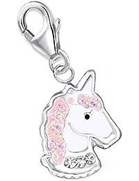 kleine Kristall Glitzer Einhorn Charm Anhänger 925 Echt Silber Mädchen Damen Kinder Pferd