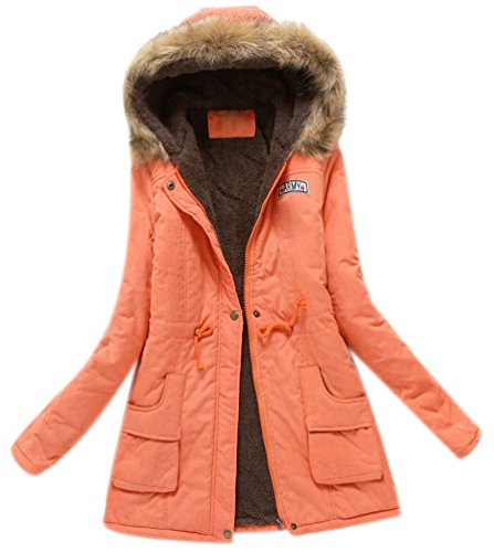 Winterparka Damen Parka Faux Fellkapuze Frauen Faux Fellimitat Jacke Damen Wattierter Parkas Mit Viel Kapuze Faux Fell Herbstjacken Warme Lang Winter Mäntel Mantel Orange S (Orange Mantel Winter)