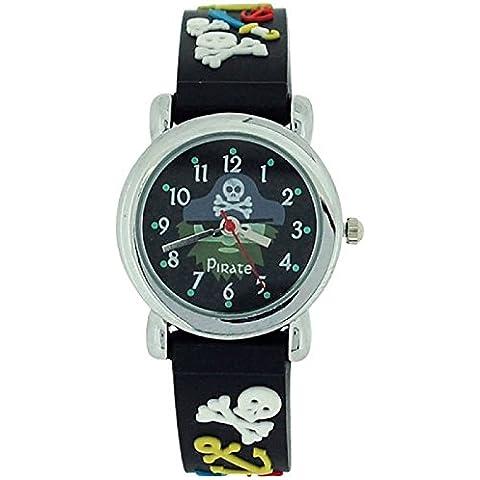 De los muchachos cidra color negro Crossbone del cráneo del pirata de anclaje y la espada de correa de silicona reloj de pulsera para mujer KID41