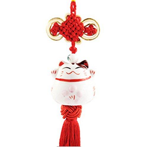 SHINA Chat Japonais en Porcelaine Pendentif Porte-Bonheur Traditionnel avec Noeud Chinois cadeau original (rouge)