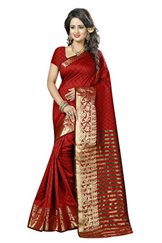 J B Fashion Women's Cotton Silk red Saree With Blouse Piece(sarees for...