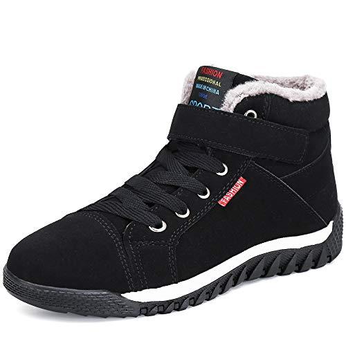 Pastaza Herren Winterschuhe Gefütterte Warme Winterstiefel Männer Winter Boots Rutschfest Schnee Stiefel Outdoor Sport Sneaker mit Klettverschluss Schwarz, 42