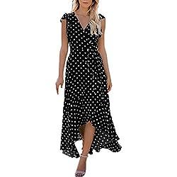 Vestidos Largos Mujer Verano, Vestido Boho con Estampado de Lunares de Mujer Vestido Largo de Verano de Señoras de Playa Beach Sundress Vestidos de Fiesta Elegantes