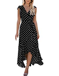 005dd817fb2 WUDUBE Womens Sexy Dots Boho Mini Beach Summer Sundrss Maxi Long Banquet  Black Red Navy Clothing