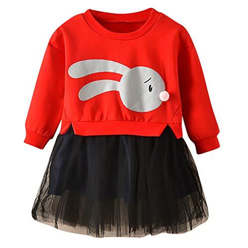 Weant Baby Kleidung Mädchen Kleider festlich Outfits 2PCS Spleißen Kaninchen drucken Langarm Tops Mesh Röcke Prinzessin Kleid Kinder Kleider Baby Bekleidungssets Neugeborenen Bekleidungset Rosa Capri-outfit