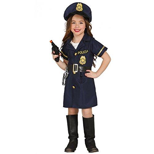 Kinderkostüm Polizistin Mädchen Kleid blau Polizei Uniform  -