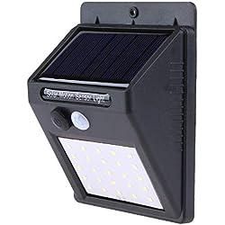 Bureze Solarleuchte mit Bewegungsmelder, 20 25 30 LEDs, wasserdicht, Solarleuchte für den Außenbereich, Garten-Sicherheit, Solarleuchte 25led