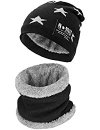 fc934783679 Petrunup 2Pcs Boys Beanie Hat and Loop Scarf Set