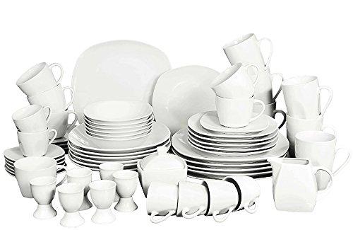 Geschirr Tafelservice Kombiservice Retsc Arzberg eckig weiß 62teiliges Set für 6 Personen aus Porzellan – Das Rundum-Sorglos-Paket
