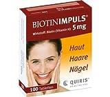 Biotin Impuls Intensivpflege für schöne Haut, Haare und Nägel; Kur-Set 2x100Tabletten; zur Behandlung und Vorbeugung eines Biotin-Mangeks; Frei von tierischen Fetten, glutenfrei, zuckerfrei