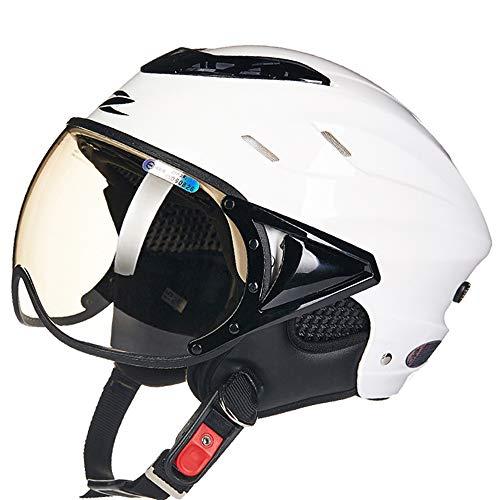 FLYFEI Mezzo Casco per MotoCasco da Casco per Casco da BiciclettaCasco da Gara MotocrossSummer Jet Pilot Helmetper Skateboard Ciclomotore FuoristradaKids Men Women Size: 55-60Cm,Whit