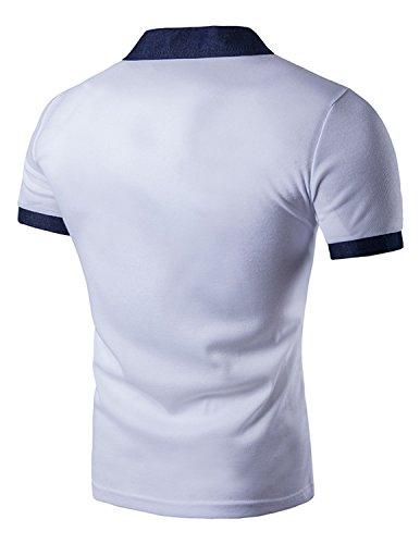 LIANIHK Casual Denim Spleiß Poloshirt Herren Kontrastfarben Kurzarm Freizeit Polo M - XXL Weiß