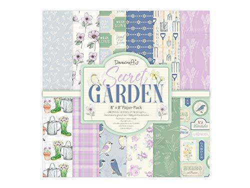 Dovecraft Secret Garden Papier, 36 Blatt mit 12 Designs, FSC-zertifiziert, für Bastelarbeiten, Schreibwaren, Tagebuch, mehrfarbig, 20,3 x 20,3 cm