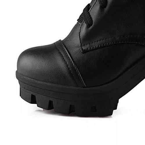 Mee Shoes Damen modern Schnürsenkel chunky heel Plateau langschaft Stiefel Schwarz