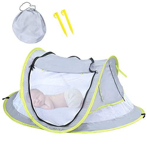 HUSAN Tenda da Viaggio per Bambini, Tenda pop up Pieghevole Portatile UPF 50+ protezione dal sole e zanzare Lettino da Viaggio Tenda da Spiaggia per Bambini