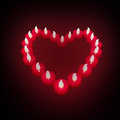 Atcoe luz de las velas Pilas Flameless parpadeo velas ligeras del té, que destella LED rojo 24-Pack