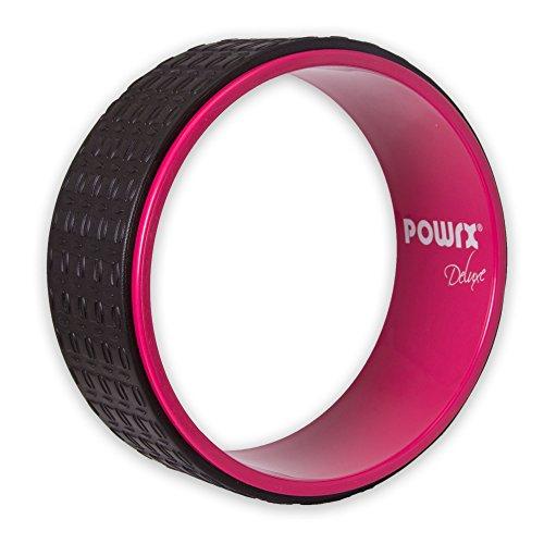 POWRX Yoga Wheel | Pilates Rad 33x13cm schwarz/rosa | Ideal zur Verbesserung der Flexibilität Balance und Körperhaltung