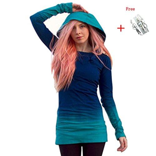 Ninasill Frauen Sweatshirt, ღ ღ Hoodies Sweatshirts Hood Long Sleeve Farbverlauf Farbe Tops Casual X-Large Blau