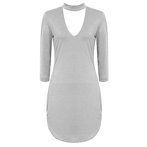 Janisramone - Robe - Robe tunique - Manches Longues - Femme * taille unique Gris