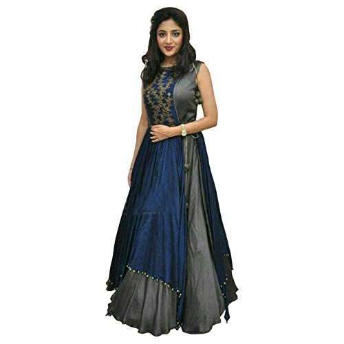 Khodal Trendz Women's Taffeta Silk Embroidered Semi-Stitched Indo-Western Gown