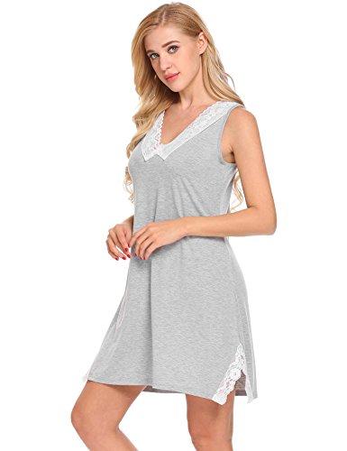 Unibelle Damen Negligee Nachthemd V-Ausschnit Nachtkleid Nachtwäsche Sleepwear mit Spitzenbesatz Grau