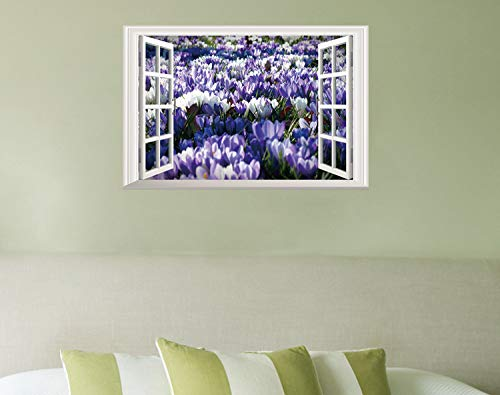 Wandsticker Wandtattoos 3D Wandaufkleber/Tulpen/Gefälschte Fenster Simulation Stereo Schlafzimmer Wohnzimmer Dekorative Wandaufkleber Diy Umwelt Vinyl Abnehmbare 60 * 40 Cm
