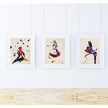PACK de láminas para enmarcar MIS CUENTOS. Posters estilo acuarela con imágenes de cuentos infantiles. Decoración de hogar. Láminas para enmarcar. Papel 250 gramos alta calidad