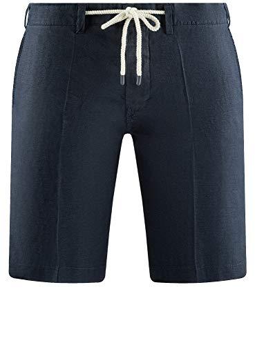 Leinen-look Tunnelzug Shorts (oodji Ultra Herren Leinen-Shorts mit Bindebändern, Blau, Herstellergröße W0 / DE 52 / EU 46)
