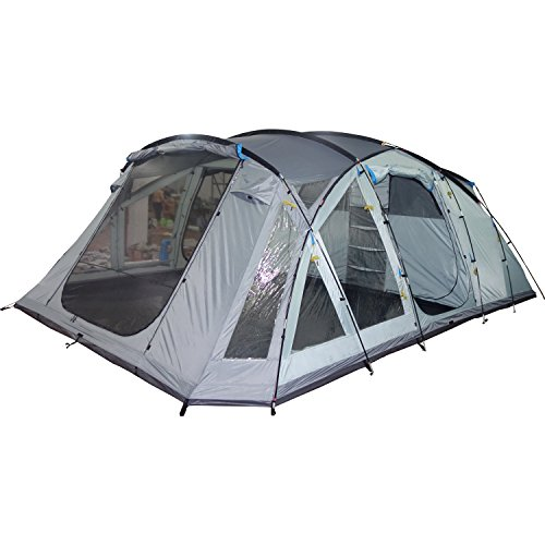 41QDj91ps2L. SS500  - Skandika Skaland 5 Person Man Large Camping Tunnel Tent with Sewn-In Groundsheet, 3000mm Water Column, Mosquito Netting, 220cm Height, Grey