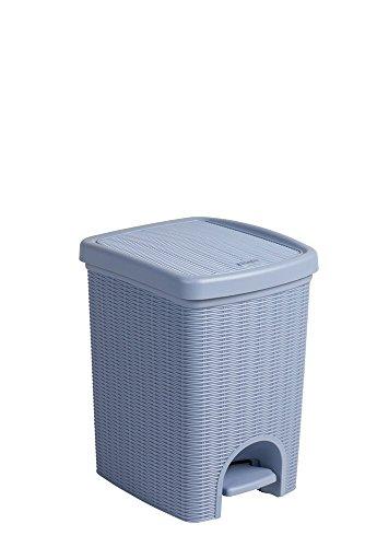 Tretmülleimer im Rattan Design mit herausnehmbaren Einsatz und 20 Liter Volumen in der Trendfarbe Hellblau - für das Bad, die Küche oder das Büro