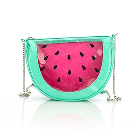 AiSi Mädchen 3D Kleine süße Obst Tasche Mini Umhängetasche Moderne Handtasche Transparente Abendtasche Clutch Party-Bags mit Umhängekette Reißverschluss Wassermelone