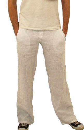 08139 PERANO Herren Leinen Hose Farbe Weiß Konfektionsgröße 56 Internationale Größe 2XL weiß 56/2XL.