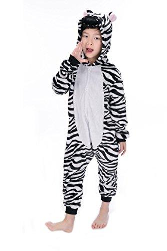 Imagen de tuopuda kigurumi pijama animal entero unisex para niños con capucha ropa de dormir traje de disfraz para festival de carnaval halloween navidad s = 90  100 cm height, cebra