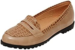 Flat n Heels Womens Beige Synthetic Loafers - 6 UK
