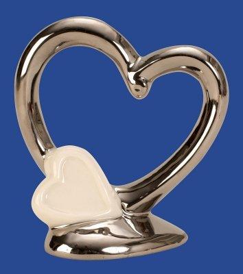 Skulptur Herz silber und weiße Struktur