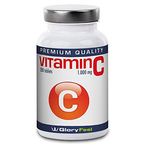 Vitamin C 1000mg 200 Tablets – Comparison Winner* – High Strength Vegan Vitamin-C Tablets (Up to 7 Month Supply) – 1000 mcg Pure C-Vitamin per Tab – Without Magnesium Stearate by GloryFeel